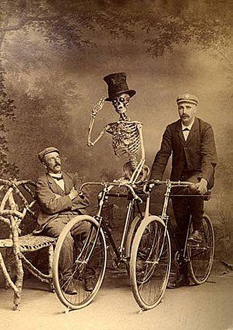 good day, sirVintage Halloween, Vintage Photos, Vintagehalloween, Black White, Bikes Riding, Old Photos, Riding A Bikes, Tops Hats, Happy Halloween