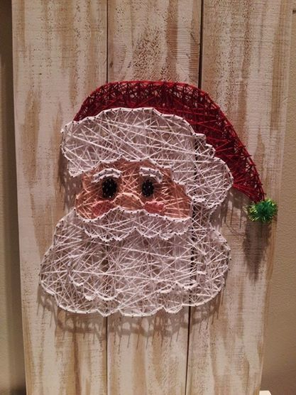 Santa face string art. Check us out on Facebook at All Strung Up https://www.facebook.com/pages/All-Strung-Up/915873695199667?ref=hl