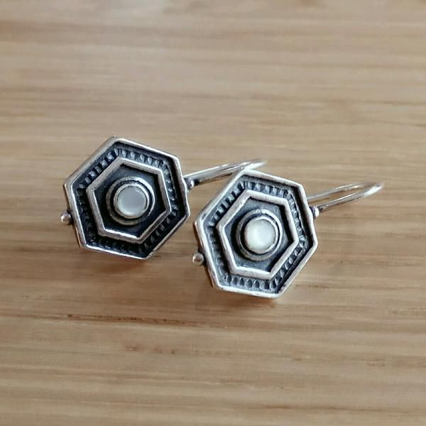 Hexagon Ivory and Silver Earrings