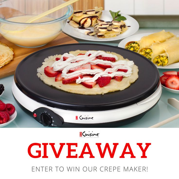 No kitchen is complete without an Electric Crepe Maker...or so we've heard. And guess what? We're giving one away to one lucky winner!  #eurocuisine #waffles #wafflelover #crepe #crepes #dessert #nom #foodgasm  #foodie #hungry #foodpic #eeeeeats #yummy #forkyeah #foodpic #food #foodlovers #igfood #getinmybelly  #breakfast #lovebreakfast #brunch #brunchgoals  #homemade #yum #nomnomnom #cooking #recipes