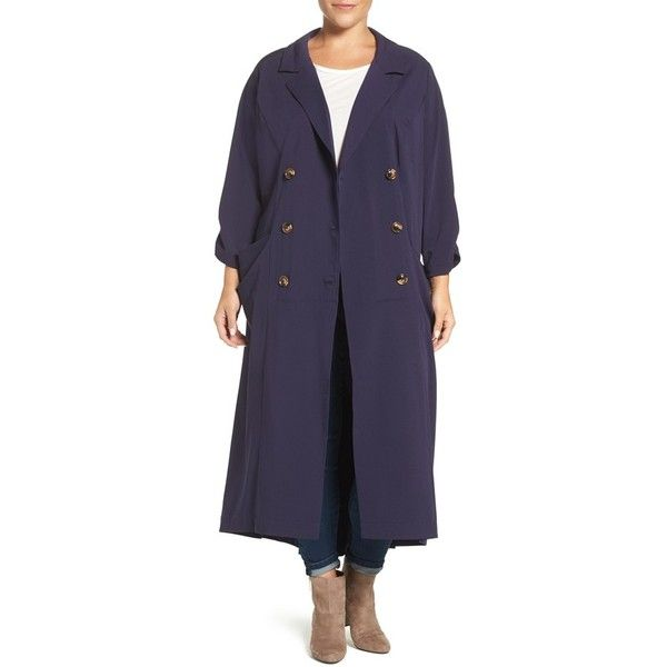 Plus Size Women's Melissa Mccarthy Seven7 Double Breasted Coat Dress (245 CAD) ❤ liked on Polyvore featuring plus size women's fashion, plus size clothing, plus size dresses, evening blue, plus size, draped dress, blue cocktail dresses, plus size holiday dresses and plus size cocktail dresses