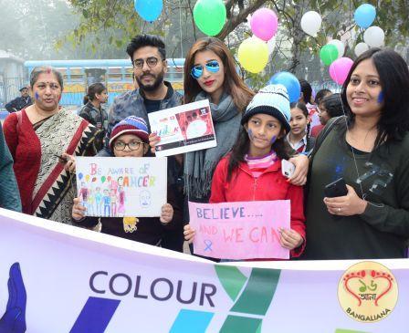 Director Raj Chakraborty, actress Sayantika took part in the event, Colour Walk.