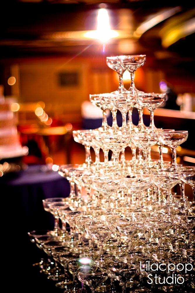 Fillmore Weddings Champagne Glass Tower Arrangement
