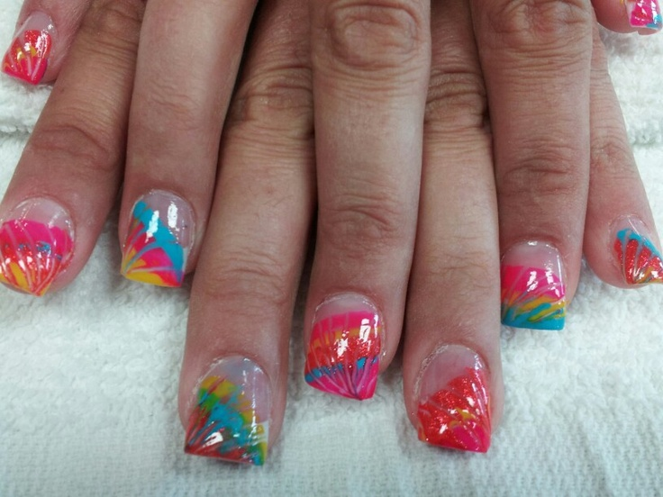 Hand painted tie dyed acrylic nails