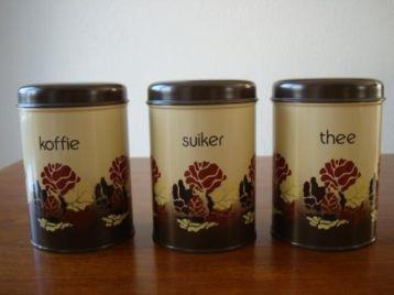 """3 """"Brabantia"""" Blikken """"Koffie"""" """"Thee"""" """"Suiker"""" 1979 Nieuw"""