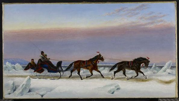 """""""Sleigh Scene, Winter, Quebec"""" by Cornelius Krieghoff (1867) at the Art Gallery of Ontario, Toronto - Before the development of the railway or automobiles, horse-drawn sleighs like this were invaluable among Canadian settlers. They were used in winter and had the advantage of being able to move over both land and ice, such that waterways that had frozen over in the winter months were still accessible and usable."""