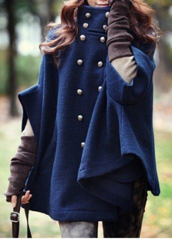 Blue Plain Pockets Double Breasted Cape Coat