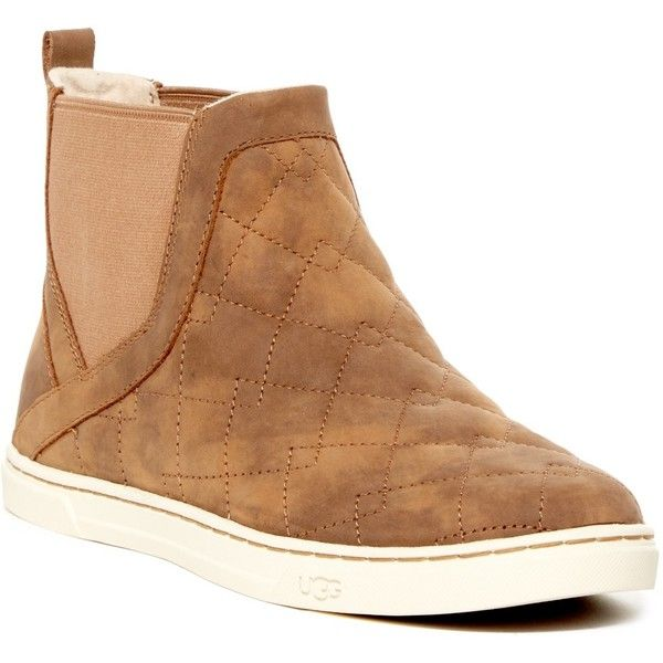 UGG Australia Hollyn Quilted UGGpure(TM) Lined High Top Sneaker (92 CAD) ❤ liked on Polyvore featuring shoes, sneakers, che, ugg sneakers, round toe shoes, ugg shoes, quilted slip on sneakers and pull-on sneakers
