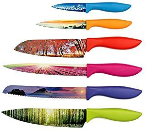 Amazon.com: Chef's Vision 6 Piece Color Landscape Kitchen Knife Set ✮ Luxury Gift Box ✮ Amazing Kitchen Décor ✮ Razor Sharp ✮ Unique Non-Stick Design ✮ Chef Bread Slicer Santoku Utility Paring Knives: Kitchen & Dining