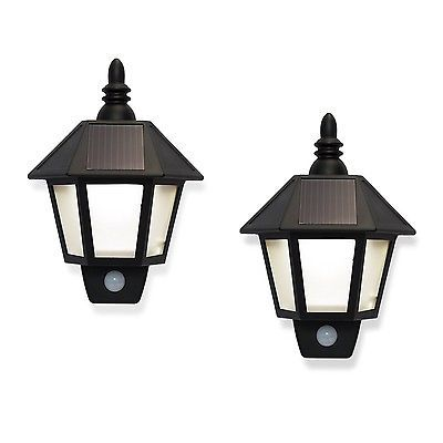 Set of 2 Outdoor Warm White Solar Sconce Security Wall Lights with High Tech ...