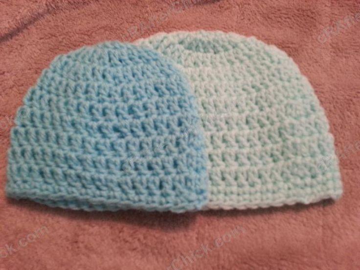 Free crochet pattern- Easy Peasy Baby / Infant Sized (3 to 6 Months) Double Crochet Beanie Hat Pattern - beginner pattern