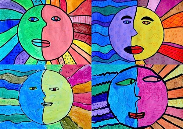 """I thought of a imagine to match the feelings of """"temperature"""" given from warm and cool colors. The idea has brought of this work, with a sun and a moon. The sun evokes the heat, the fir…"""