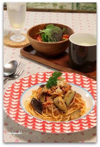 手作りトマトソース*なすとひき肉のトマトパスタ by miyukiさん ...