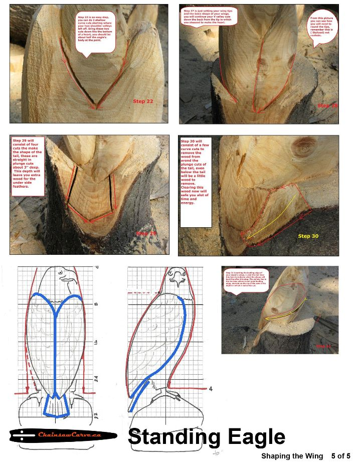 Chainsaw carving patterns Standing Eagle 5of5 | Chainsaw ...