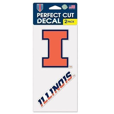 "ILLINOIS FIGHTING ILLINI 4""X4"" DIE CUT DECAL 2-PACK CAR HOME BRAND NEW WINCRAFT"