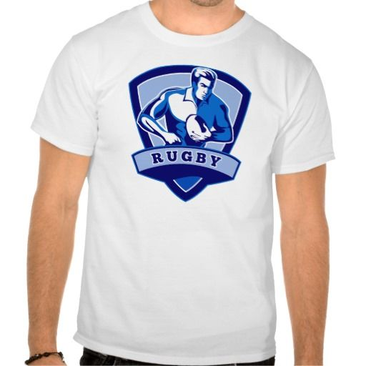 """Rugby player running ball shield t-shirt. illustration of a Rugby player running with the ball with shield in the background with words """"rugby"""". #illustration #Rugbyplayerrunningball #rwc #rwc2015 #rugbyworldcup"""