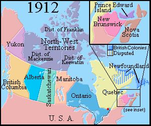 Map of Canada 1912  A Brief Canadian History 1900-1929