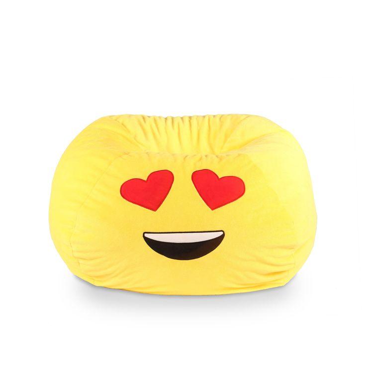 GoMoji Emoji Bean Bag Heart Eyes, Yellow, Size Medium (Fabric)