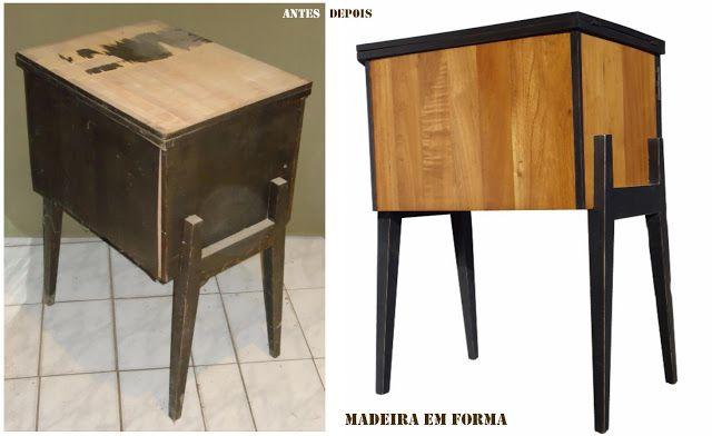 Restauração de Móveis de Época : Gabinete de máquina de costura Singer - restaurado