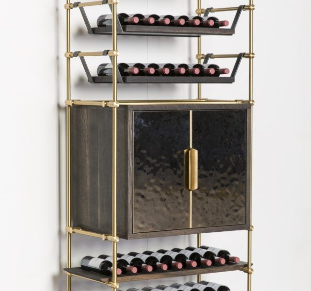 Collector's Shelving Wine Storage Unit- Brass shelving with custom wine shelves. Retractable doors for extra storage and serving area.