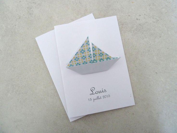 Faire part de naissance - baptême - carte de remerciement bateau voilier en origami pour garçon turquoise jaune : Faire-part par papierelief