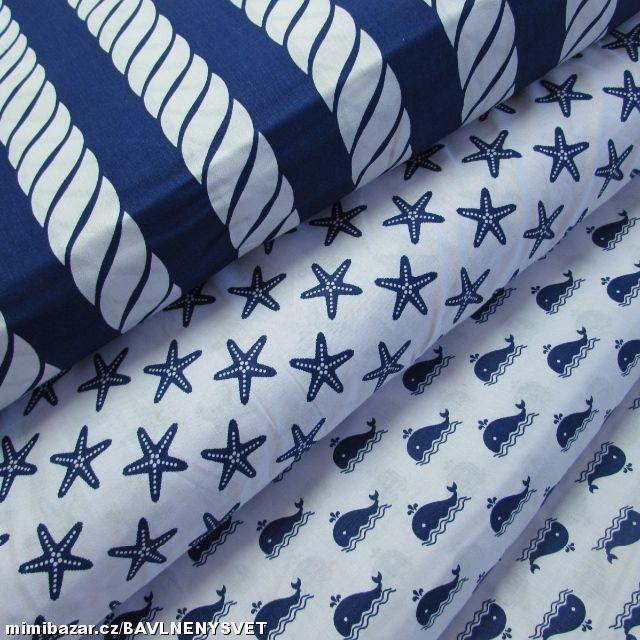 METRÁŽ - NÁMOŘNÍ KOLEKCE modrá 100% bavlna