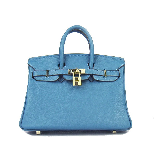 Hermes Blue Jeans 25CM Birkin Clemence Leather Bag With Gold HW Product Model: Hermes Birkin 25CM  Availability: In Stock  Color: Blue Jeans / Gold  Material: Calf Leather  Size: W25×H18×D13CM  Package: Hermes dust pouch, padlock, keys and key ornaments  Shipping: Free Price: $219