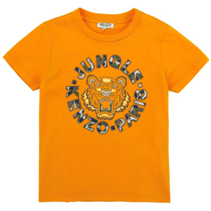 Orange+T-shirt+made+of+soft+cotton+jersey.+Round+neck+and+short+sleeves.+Tiger's+head+print+on+the+chest.+-+£+35,00