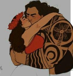 Older Moana and demigod Maui ❤ #moana #disney #maui