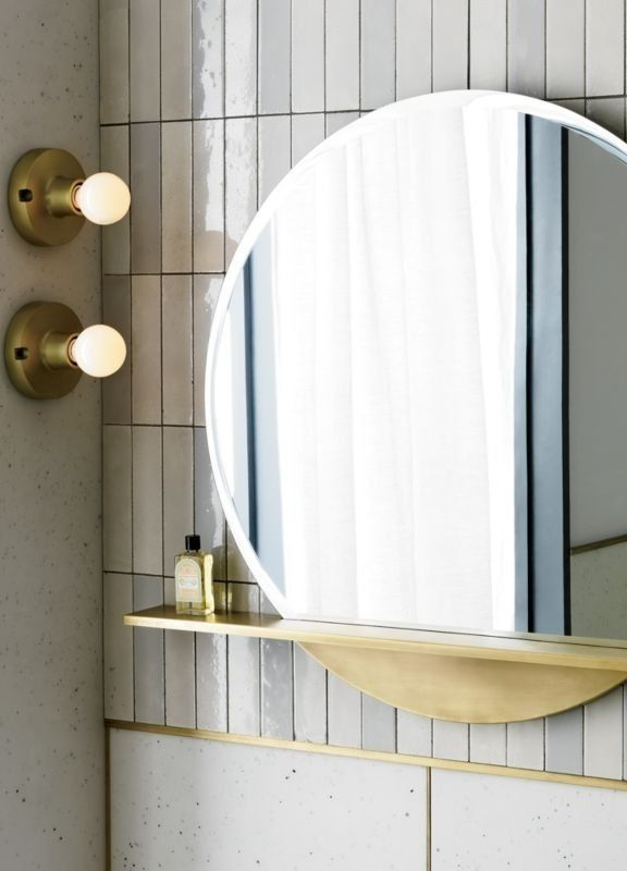 Inspired By Vintage Light Fixtures Sculptural Round Of Brass Plated Aluminum Gleams A Refined Ind In 2020 Mirror With Shelf Small Bathroom Decor Round Mirror Bathroom
