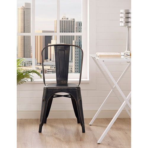Amelia Metal Cafe Chair In Galvanized, Set Of Two Crosley Furniture Side Chairs Dining Cha