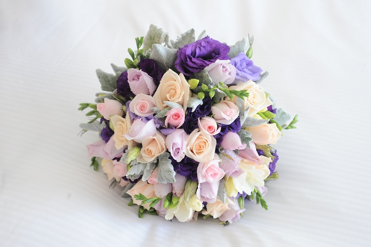 Purple, Mauve and pink Natural Stem Wedding Bouquets