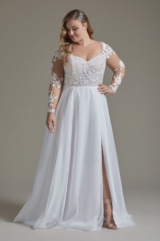 Remi By Blush By Hayley Paige From Sash Bustle In 2020 Blush By Hayley Paige Plus Wedding Dresses Hayley Paige Wedding Dress