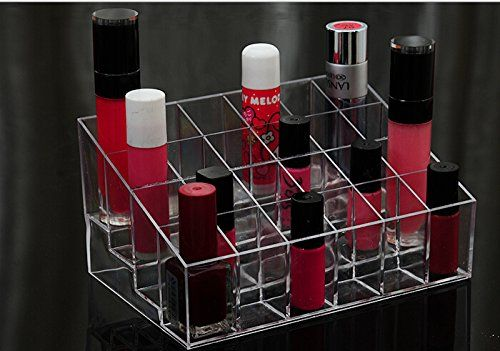 24 Slot Transparent Makeup Beauty Cosmetic Train Case Display Stand Rack Holder Tabletop Riser for Lipstick Liner Brush Nail Polisher Acrylic Organizer Showcase AOSTEKTM *** Check this awesome product by going to the link at the image.Note:It is affiliate link to Amazon.