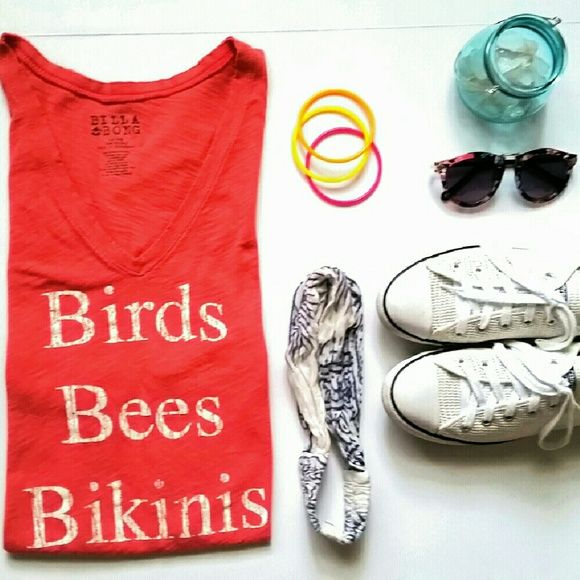 I just discovered this while shopping on Poshmark: Birds, Bees & Bikinis T-shirt. Lrg. Coral.. Check it out!  Size: L