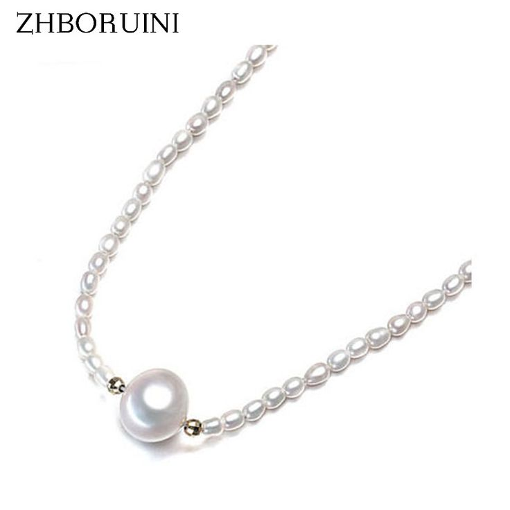100% Real Pearl Necklace Natural Freshwater Pearl Drop Water Pearl Choker Necklace Pearl Jewelry 925 Sterling Silver Jewelry