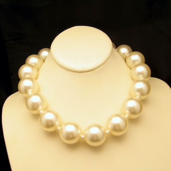 #Vintage Faux Pearls Necklace with Extra Large Chunky Beads. Every girl needs a fabulous set of pearls! Shop our entire collection today: https://www.etsy.com/shop/MyClassicJewelry?section_id=13113944&ref=shopsection_leftnav_2 #MyClassicJewelry