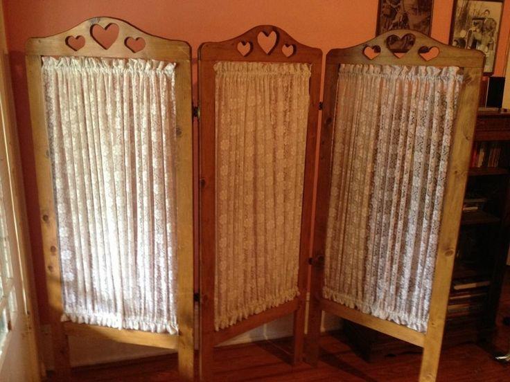 Vintage Room Divider Backdrop Folding Wood And Fabric