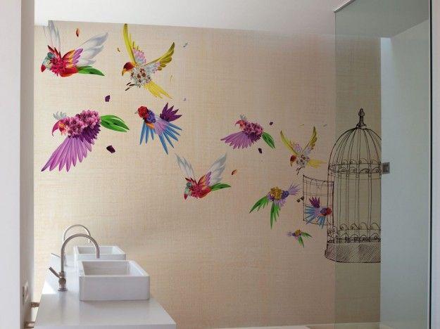 Carta da parati fantasiosa - Carta da parati per il bagno con uccelli e gabbia.