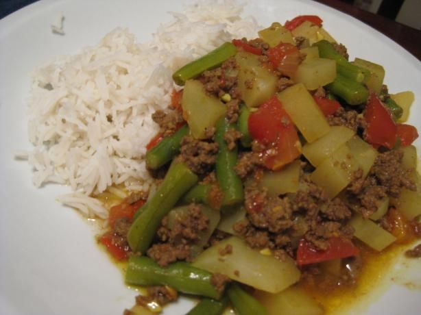 Pakistani Kima (Hamburger Curry) from Food.com: A really easy one skillet meal made with ingredients I can find in my Wisconsin kitchen. Full of flavor and not too spicy; my kids love this. From Mennonite cookbook -With-Less.