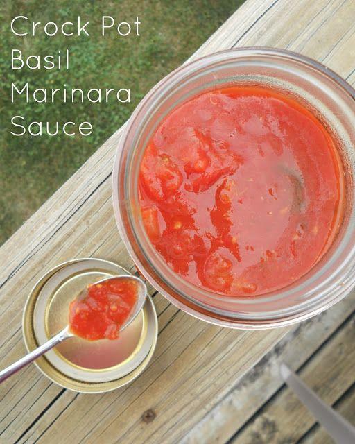 crock pot basil marinara sauce (sweetandsavoryfood.com). Never freeze anything in glass.