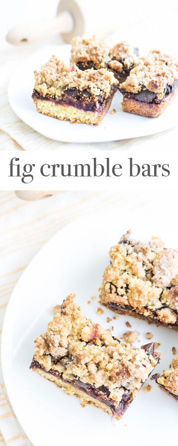 Fig Crumble Bars: a fresh fig jam spread over a bed of shortbread, then sprinkled with a walnut-pastry topping. Recipe via MonPetitFour.com