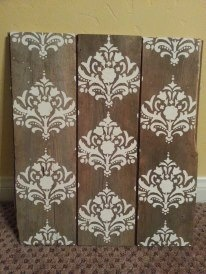 Damask Barn Wood Wall Decor by KeepItCountryDecor on Etsy, $40.00
