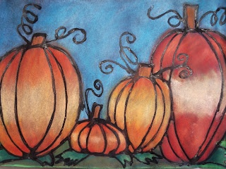 a faithful attempt: Glue Line Chalk Pastel Pumpkins - Got to do this technique on SOMETHING - so cool.