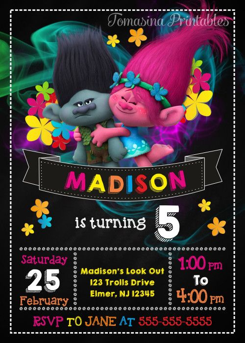 Trolls Invitation Trolls Inspired Trolls Invite Trolls Birthday Party Trolls Printables Trolls Party Supplies Poppy and Brunch Invitation #trolls #birthdayparty #trollsinvitation