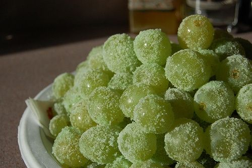 Sour patch grapes! Grapes coated in watermelon jello mix. Then FREEZE!!! A healthy snack that tastes like candy.