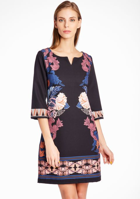 Lola Liza Geprinte jurk met 3/4 mouwen - BLACK bloemenprint zwart floral print dress