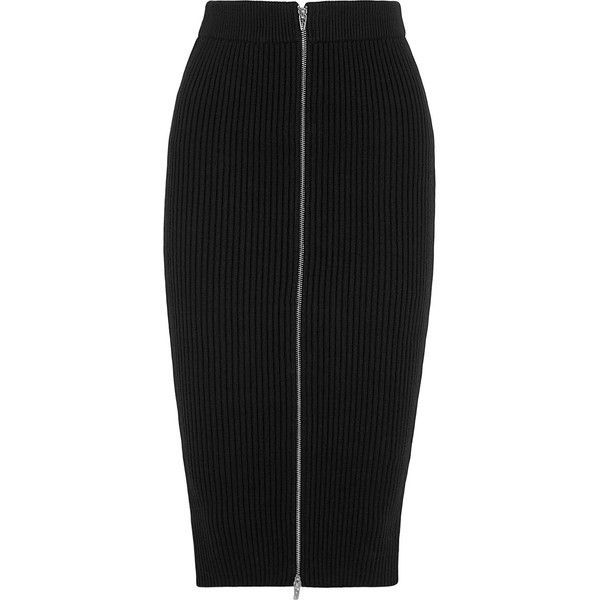 T by Alexander Wang Ribbed-knit cotton-blend midi skirt (1,055 PEN) ❤ liked on Polyvore featuring skirts, bottoms, black, black knee length skirt, calf length skirts, black midi skirt, evening skirts and holiday skirts