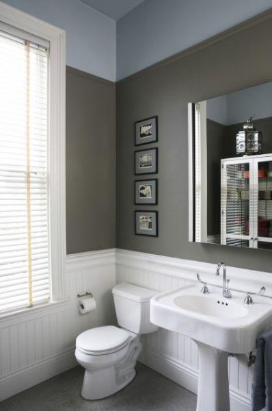 Manly Bathroom Paint Colors: Benjamin Moore's Chelsea Gray.
