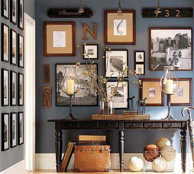 Love this wallDecor, Wall Colors, Ideas, Frames, Blue Wall, Gallery Walls, Photos Wall, Gallerywall, Pottery Barns